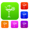 fruit cocktail set collection vector image vector image