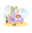 girl lying on couch and dreaming vector image
