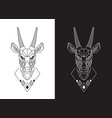 goat face linear saola head design vector image