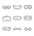 goggles ski glass mask icons set simple style vector image vector image