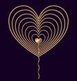 golden wire heart on dark background vector image vector image
