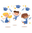 graduation kids celebration with joy banner vector image vector image
