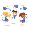 graduation kids celebration with joy banner vector image