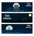 happy halloween horizontal banners set vector image