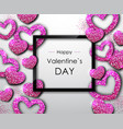 happy valentines day poster sparkle love heart vector image