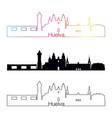 huelva skyline linear style with rainbow vector image vector image