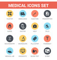 medical icons set flat icons vector image