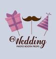 party hat with gift box and moustache vector image vector image