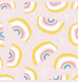 Seamless childish pattern with hand drawn rainbows