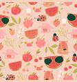 seamless pattern with cartoon fruits animals vector image