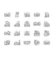 set car accidents line icons car station vector image