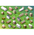 set isometric building in spring vector image vector image