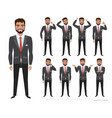 set of emotions and poses for business man male vector image vector image