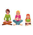 set of girls reading books and using mobile phone vector image vector image