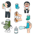 set of inhalation medicine vector image vector image