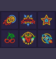 set of neon icons burning vector image vector image