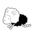sheep animal jumping black color section vector image