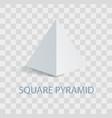 square pyramid geometric figure in white color vector image