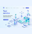 taxi service isometric landing page vector image