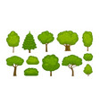 trees and bushes set of icons forest nature vector image vector image