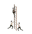 white background with business men climbing wooden vector image vector image