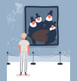 young man visiting gallery flat vector image vector image