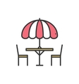 Thin line icons set Table and chair outside vector image