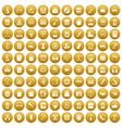 100 hi-school icons set gold vector image vector image