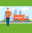 a young man delivered a box on a car delivery to vector image