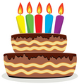 birthday cake with burning candles vector image vector image