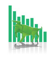 bull paper art with green bar chart for stock vector image
