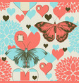 butterflies and hearts retro love pattern vector image vector image