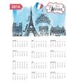 Calendar 2016Paris Landmarks skylinewatercolor vector image vector image
