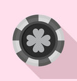 casino chip clover icon flat style vector image