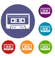 cassette tape icons set vector image vector image