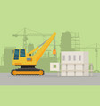 caterpillar building crane on building area vector image