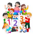 children are holding book and number vector image vector image