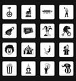 circus entertainment icons set squares vector image vector image
