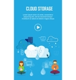 Cloud Storage Video Web Banner in Flat Style vector image vector image