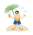 conceptual man banner on beach isolated flat vector image vector image