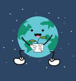 cute cartoon earth holding plant vector image