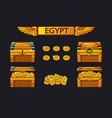 egypt antique treasure chest and golden coins vector image vector image