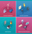electricity concept icons set vector image vector image