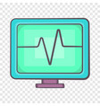 electrocardiogram monitor icon in cartoon style vector image vector image