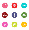 firefighting service icons set flat style vector image