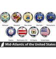 flags mid atlantic region us vector image vector image
