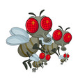 fly family cartoon character design isolated on vector image