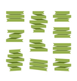 Green ribbon banners set blank decoration vector image vector image