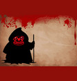 grim reaper with predatory red eyes silhouette vector image