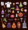 halloween night creepy symbols icons vector image vector image
